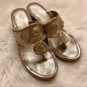 Jack Rogers gold espadrille sandals